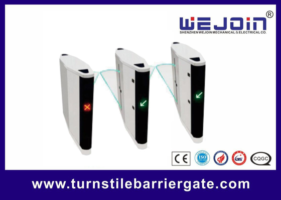 China Automatic pedestrian waist high 304 stainless steel flap barrier turnstile gate with RFID card fábrica